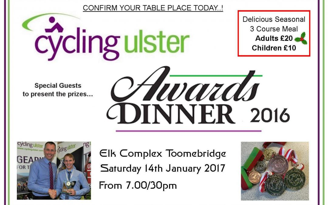 Cycling Ulster Awards Dinner – CLOSED.