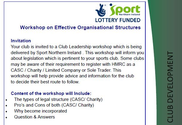 Sport NI Effective Organisation Events in Belfast & Derry